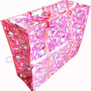 กระเป๋ากระสอบซิปใหญ่ (คละลาย) 70x63x28 ซม.(1x3)