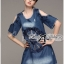 Lady Ribbon's Made Lady Rose Embroidered Cut-Out Shoulder Denim Dress thumbnail 1