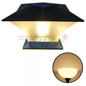 โคมไฟหัวเสาโซล่าเซลล์ ทรงสี่เหลี่ยม (เเสง : เหลืองวอมไวท์)