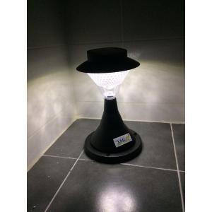 โคมไฟหัวเสาโซล่าเซลล์ ทรงกรวย ฐานดำ 39 LED (เเสง : ขาว)