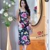 Dressเดรสสายเดี๋ยวเนื้อผ้าพิมพ์ลายดอกไม้สีสันสดใส