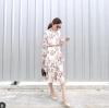 Dress คอกลมแขนยาวมาพร้อมผ้าคาดเอว