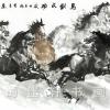 ภาพพิมพ์ ลายภาพวาดพู่กันจีน ม้ามงคล8ตัวขาวดำ 65*135cm cnn04