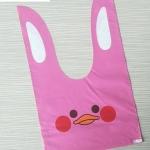 ถุงเบเกอรี่ ถุงขนมบิสกิต ถุงหูกระต่าย รูปเป็ดสีชมพู 100 ใบ/ห่อ (Size : 13.5*22+6 cm.)