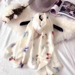 ผ้าพันคอ ผ้าคลุม ไหมญี่ปุ่น สกรีนลาย SJ01-007