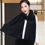 ผ้าพันคอ Black Cashmere แคชเมียร์ สี ดำ CM01022