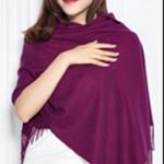ผ้าพันคอ Purple Wine Cashmere แคชเมียร์ สี ม่วง ไวน์ CM01012