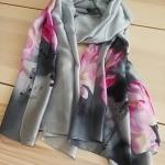 ผ้าพันคอ ผ้าคลุม ไหมญี่ปุ่น สกรีนลาย SJ01-015