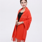 ผ้าพันคอ Orange Cashmere แคชเมียร์ สี ส้ม อมแดง CM01006