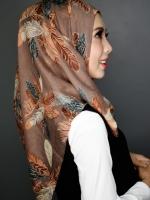 ผ้าคลุม อิสลาม วิสคอส viscose พิมพ์ลาย ขนนก HJ07019-1