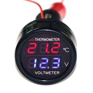 2 in 1 วัดโวลท์ วัดอุณหภูมิ ไฟสีน้ำเงิน/แดง