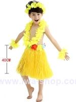 ชุดฮาวายเด็กกระโปรงฟาง พร้อมเซตพวงมาลัย รุ่นหนาพิเศษ 40 cm สีเหลือง