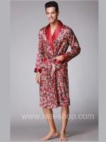 ชุดนอนเสื้อคลุมผู้ชายเดี่ยว ลายคลาสิค สีไวน์แดง