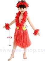 ชุดฮาวายเด็กกระโปรงฟาง พร้อมเซตพวงมาลัย รุ่นหนาพิเศษ 40 cm สีแดง