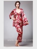 ชุดนอนผู้หญิง ผ้าซาติน สีแดง