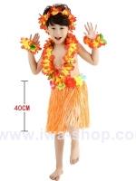 ชุดฮาวายเด็กกระโปรงฟาง พร้อมเซตพวงมาลัย รุ่นหนาพิเศษ 40 cm สีส้ม
