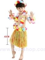 ชุดฮาวายเด็กกระโปรงฟาง พร้อมเซตพวงมาลัย รุ่นหนาพิเศษ 40 cm สีมิกซ์