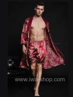 เสื้อคลุมชายพร้อมกางเกงลำลอง ลายคลาสิค สีแดง