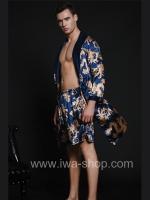 เสื้อคลุมชายพร้อมกางเกงลำลอง สีน้ำเงิน