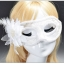 หน้ากากแฟนซีลูกไม้ติดดอกไม้ ขาว thumbnail 1