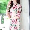 Crepe Dress Pink Rose Print Vintage Style