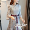 T-Shirt Strip Fluted Embroidery Fabric Lace Dress
