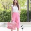 ชุดเซท เสื้อแมทซ์กับกางเกงขาบาน สีชมพูนมเย็น