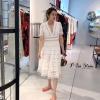 เดรสลูกไม้เกาหลี ตัวยาว ใช้ผ้าอลัง