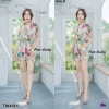 Set ฮาวาย 2 ชิ้น เสื้อเชิ้ตฮาวายพิมพ์ดอกงานผ้าสปัน + กางเกงขาสั้นรอบเอวสม็อค