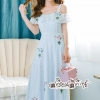 Maxi Dress houlder Blue Embroidery Lace Lady British
