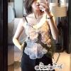Tank Top Flower Embroidery Chiffon Glass Fabric