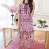 Arty vintage embroidery ribbon neck dress