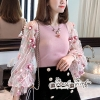 T-Shirt Mesh Lace Embroidery Dimension Sweet Pink