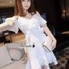 Feminine off shoulder ivory dress