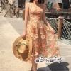 Lace Dimensional Orange flowers Line Dress