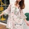 Lace Lady pattern Chiffon Crepe Dress Necklace Gray&Green