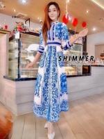 Maxi Dress แขนยาว พิมพ์ลายสวยสไตล์ D&G