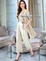 Spot Floral Bead Jumpsuit With Long Outer Set