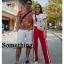 เซ็ตเสื้อยืดคอกลม แถบสีแดงมาพร้อมกางเกงสีแดง ช่วงเอวสม็อกแบบดีนะคะ thumbnail 2