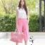ชุดเซท เสื้อแมทซ์กับกางเกงขาบาน สีชมพูนมเย็น thumbnail 1