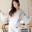 Lace T-Shirt White Sleeve Embroidery Bib Short Gene thumbnail 6