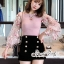 T-Shirt Mesh Lace Embroidery Dimension Sweet Pink thumbnail 3