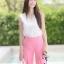 ชุดเซท เสื้อแมทซ์กับกางเกงขาบาน สีชมพูนมเย็น thumbnail 7
