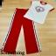 เซ็ตเสื้อยืดคอกลม แถบสีแดงมาพร้อมกางเกงสีแดง ช่วงเอวสม็อกแบบดีนะคะ thumbnail 5