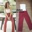 เซ็ตเสื้อสายเดี่ยวโซ่มาคู่กับกางเกงขายาวลายทางสีแดงสวยสด thumbnail 3