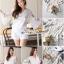 Lace T-Shirt White Sleeve Embroidery Bib Short Gene thumbnail 7