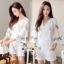 Lace T-Shirt White Sleeve Embroidery Bib Short Gene thumbnail 8