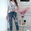 เซตเสื้อเข้าชุดกางเกงยีนส์ขายาวฟอกสีสวยมาก thumbnail 10