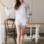 Lace T-Shirt White Sleeve Embroidery Bib Short Gene thumbnail 3