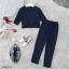 Set 2 ชิ้น เสื้อคอกลมเนื้อผ้าโฟเวย์ลายริ้วทางตรงเล็กๆสีกรม thumbnail 5